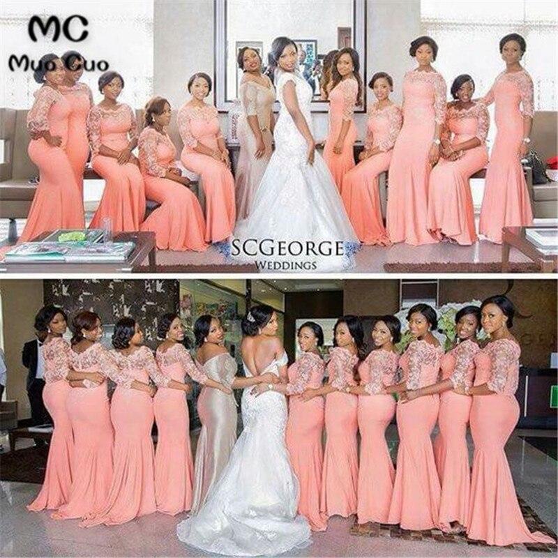 2019 robe de demoiselle d'honneur corail longue avec dentelle demi manches en mousseline de soie robe de soirée de mariage sur mesure femmes robes de demoiselle d'honneur