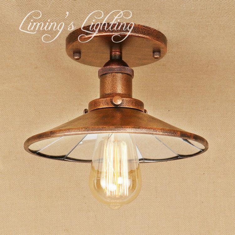 Retro Mirror Ceiling Light Lamp Living Room Bedroom Ceiling Lamps Vintage Light Lampara De Techo Wrought