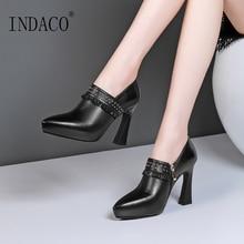 Ankle Boots for Women Black Beige High Heel Women Boots Rivets Tassel 10cm недорого