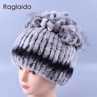 Raglaido Fur Hat Rabbit Rex Caps Sewing Floral Women Rabbit Hats Real Fur Caps Winter Skullies