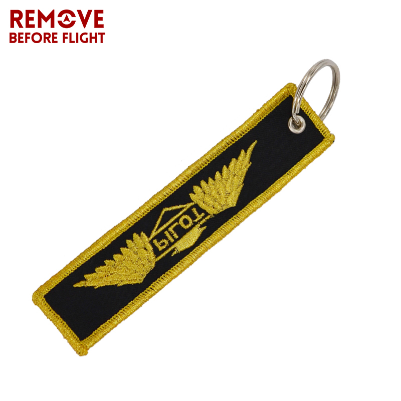 Remove Before Flight Keychain Embroidery Gold-Color Pilot Key Ring Chain for Aviation Gifts OEM Key Chains Aviation Safety Tag4