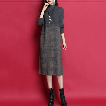 New Women Knit Dress 2019 Autumn Loose Wool Sweater Dresses Female Color Match Elegant Pullover Winter Turtleneck Sweaters NO657