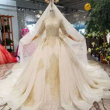 WONDMOND Wedding Dress 2019 Ball Gown Long Sleeves Dresses