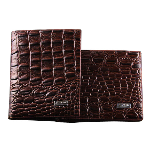 Fashion new quality leather luxury style men wallet Coffee Alligator 3 fold Cross brown casual short card holder purse wallets lorways 016 stylish check pattern long style pu leather men s wallet blue coffee
