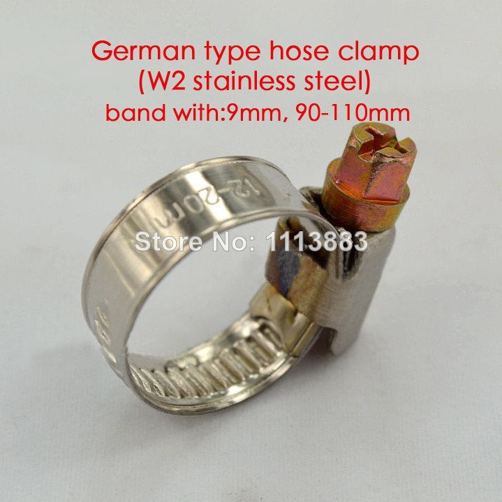 German type W2 stainless steel 9mm band hose tube clamps pipe clips in 90 110mm range