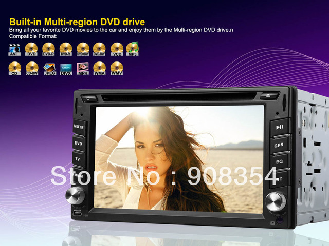 """Free 4GB SD Card with Maps 6.2"""" HD 2 din universal Car PC Stereo GPS DVD Zoran 36966 XF2 CPU Support Divx  720P Video Analog TV"""