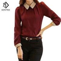 S-XXL yeni moda kadınlar uzun kollu şifon gömlek peter pan yaka fener kol kadın bluz #1195 tops