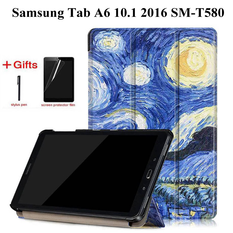 Slim Magnetic Folding Case for Samsung Galaxy Tab A6 10.1 2016 SM-T580 SM-T585 cover for Samsung Galaxy Tab A 10.1 case+Film+PenSlim Magnetic Folding Case for Samsung Galaxy Tab A6 10.1 2016 SM-T580 SM-T585 cover for Samsung Galaxy Tab A 10.1 case+Film+Pen