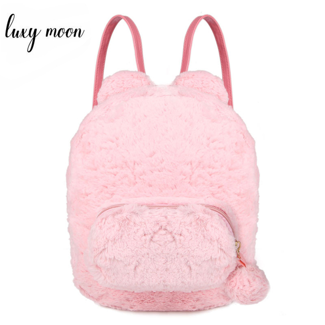 Cute Bunny Ears Backpack Rabbit Fur Double Shoulder Bag Mochila Masculina School Bags For Teenager Girls Children Backpacks