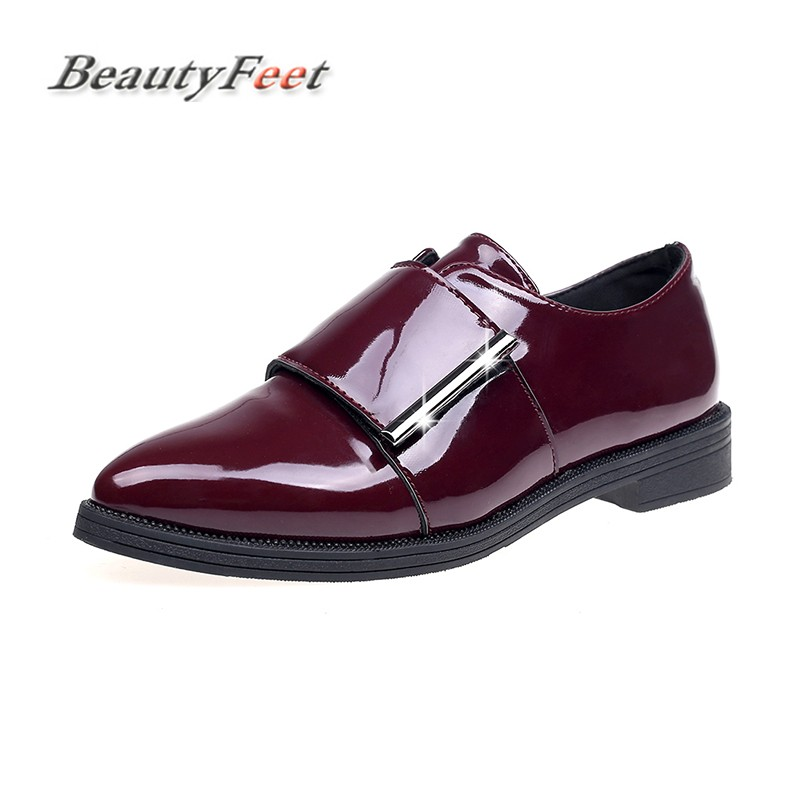 BeautyFeet New Solid Patent Leather Women Shoes Woman Oxford Leisure Shoes Female Square Low Heels Hoop&Loop Casual Shoes