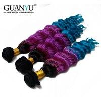 Guanyuhair Ombre бразильские волосы Комплект глубокая волна натуральные волосы 1B/фиолетовый/синий Волосы remy ткань купить 3 Комплект s получить бесп