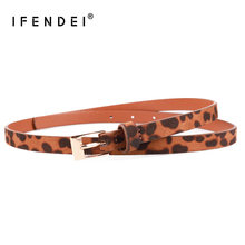 IFENDEI 2018 New Designer Skinny Belts Women's Dress Fashion Style Waist Belts PU Suede Leopard Printing Strap For Jeans 95cm(China)