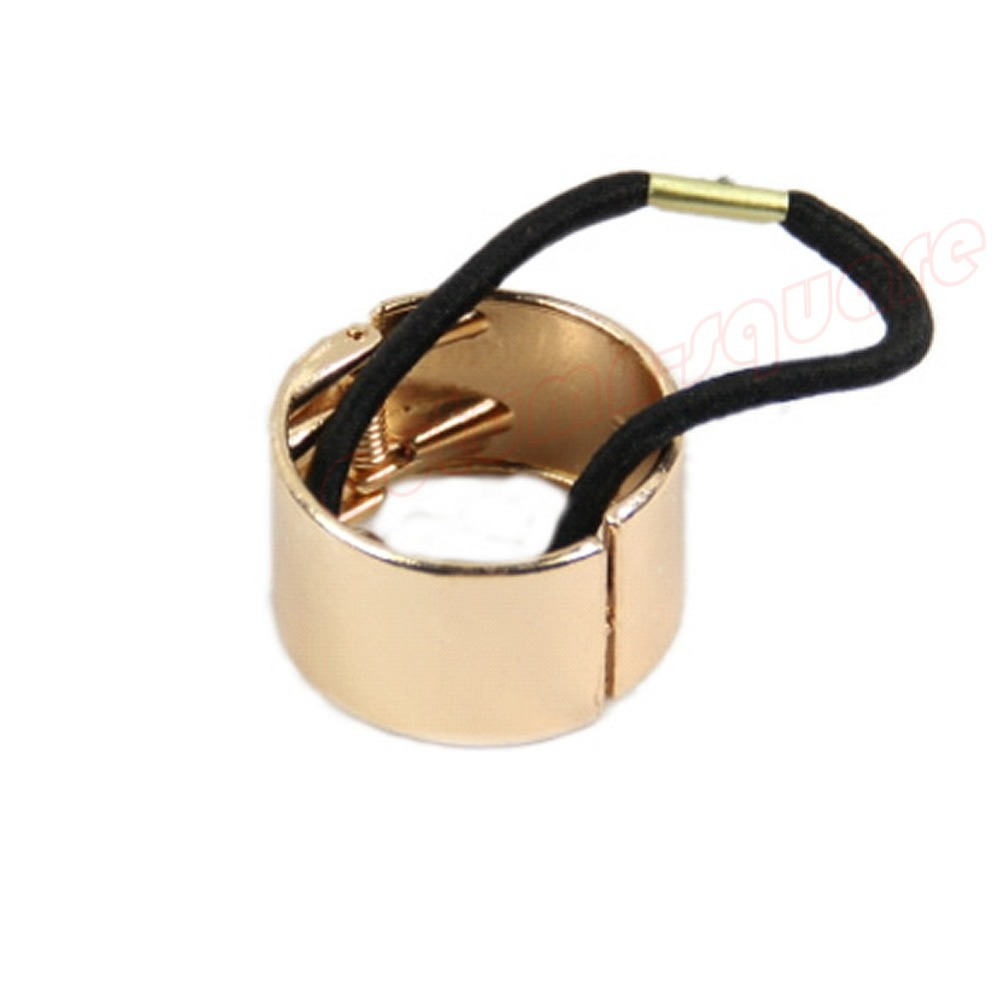 Hot Womens Hair Band Metal Hair Cuff Circle Wrap Tail Holder Ring Rope