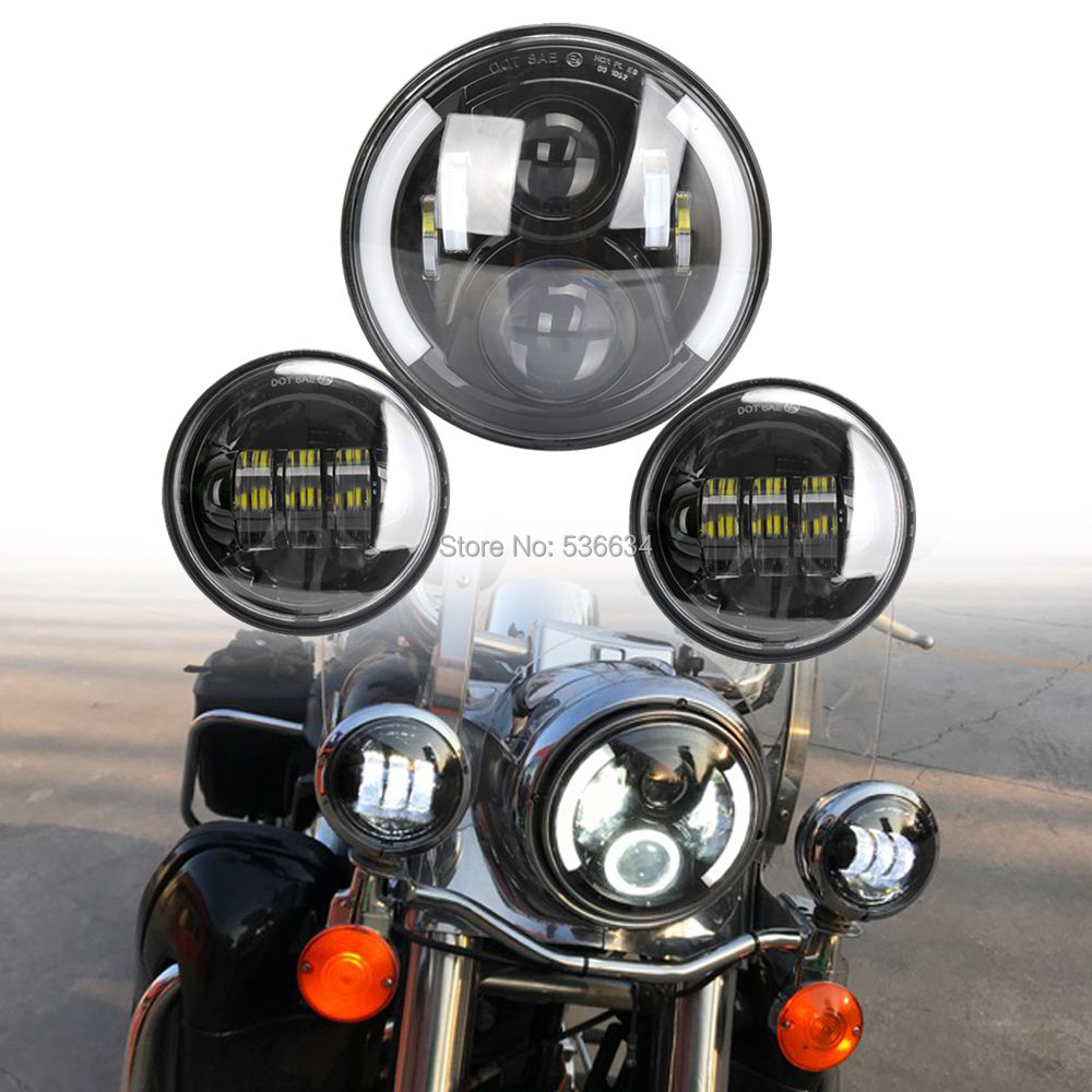 7Inch LED Round Projector Daymaker Hole Headlight With Matching 4.5 Inch LED Passing Lamps For Harley Davidson Heritage Softail
