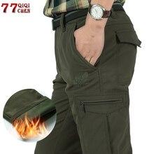男性のフリース戦術ストレッチパンツの冬のカジュアル暖かい貨物パンツ軍事ソフトシェル作業ズボン厚く暖かい防水パンツ