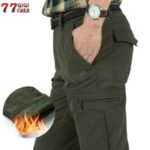Image 1 - גברים של צמר טקטי למתוח מכנסיים החורף מקרית חם מכנסיים מטען צבאי SoftShell לעבוד מכנסיים עבה חם עמיד למים מכנסיים