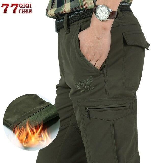 גברים של צמר טקטי למתוח מכנסיים החורף מקרית חם מכנסיים מטען צבאי SoftShell לעבוד מכנסיים עבה חם עמיד למים מכנסיים