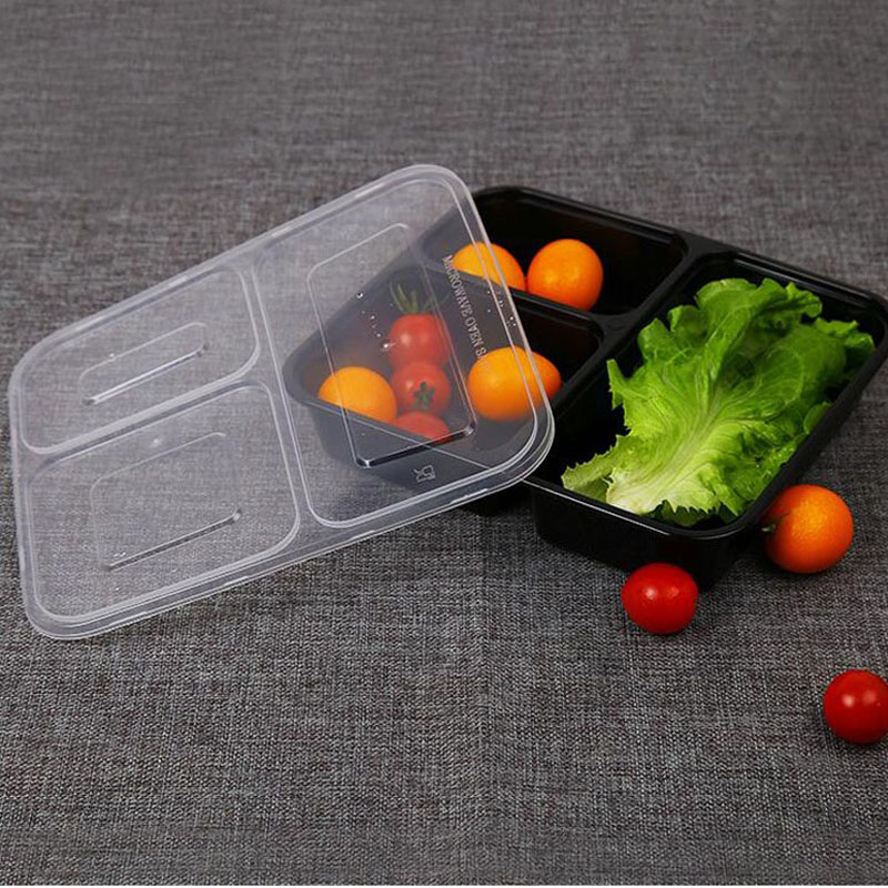 black transparent disposable lunch bento boxes food container snack packing b. Black Bedroom Furniture Sets. Home Design Ideas