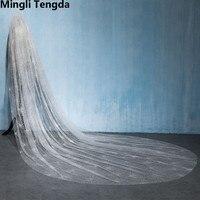 Hot Ivory Cathedral Veil 3.5 M Long Wedding Veil Cut Edge Spray Gold Sequins Bridal Veils with Comb Velos De Novia Mingli Tengda