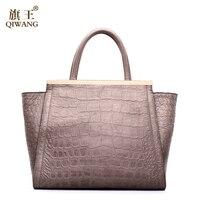 Qiwang Brand Retro Women Crocodile Bag Newest 2016 Italian Vintage Crocodile Handbags Ladies Hand Bag Cow