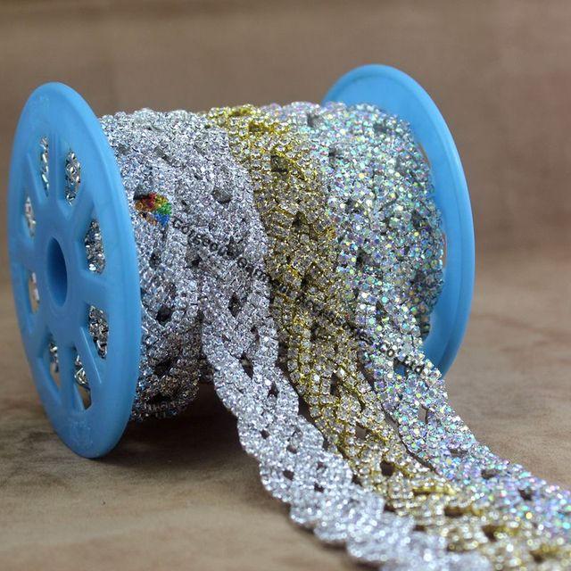 1 yard Fashion AB Crystal Rhinestone Chain Braided Costume Applique Bride  Trims DIY Browbands wedding gown dress decoration f6bf9b3c7df6