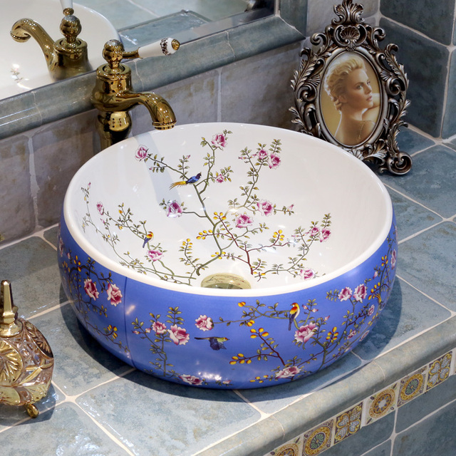 Europe Style Chinese Jingdezhen Art Counter Top Ceramic Bathroom Sink  Painted Porcelain Sink With Countertop