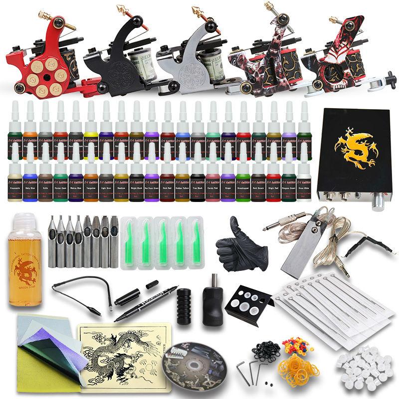 Complete Tattoo Kit Professional  5 Tattoo Machine Guns 40 color Tattoo Inks Tattoo Power Supply D179
