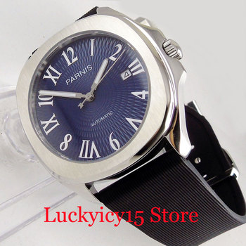 PARNIS Dress Classic 40mm Square Automatic Men's Watch MINGZHU Auto Movement Date Window Blue Dial Sapphrir Crystal