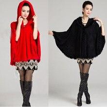 Synthetic cashmere pashmina com guarnição de pele de coelho real com capuz para as mulheres de pele verdadeira preto senhora xale moda capina cape wrapCW3341