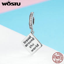 WOSTU 100% Real 925 Sterling Silver Passport Travel The World Dangles Charm fit Beads Bracelet Pendant Necklace Jewelry FIC644(China)