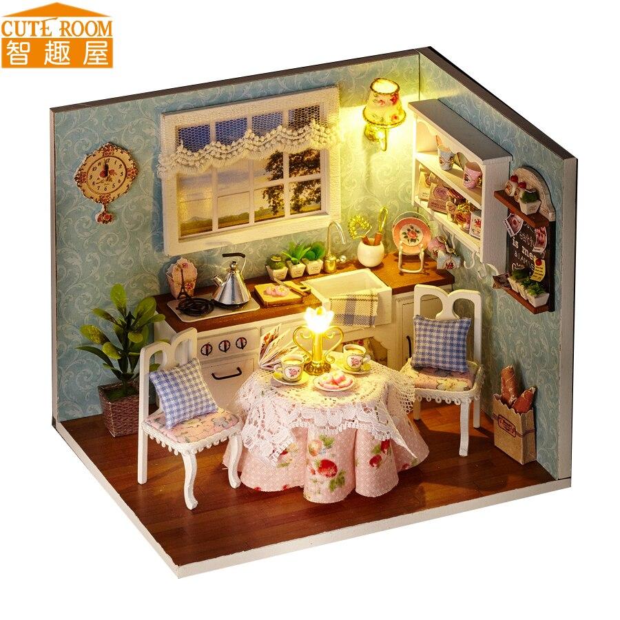 Kokkupange DIY puitmaja mänguasja Miniatura nukumajad Miniatuursed nukumaja mänguasjad koos mööbli LED-tuledega sünnipäevakingitus H08