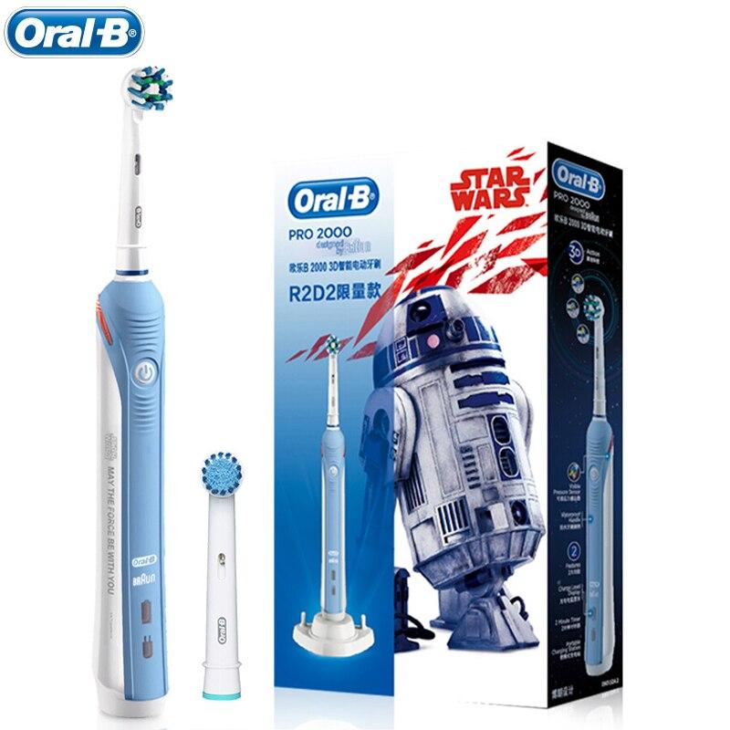 Oral B Pro2000 3D Électrique Brosse À Dents Rechargeable Dents Nettoyage En Profondeur Adulte Rotation Brosse à Dents Oral Care 1 Poignée 2 Brosse têtes