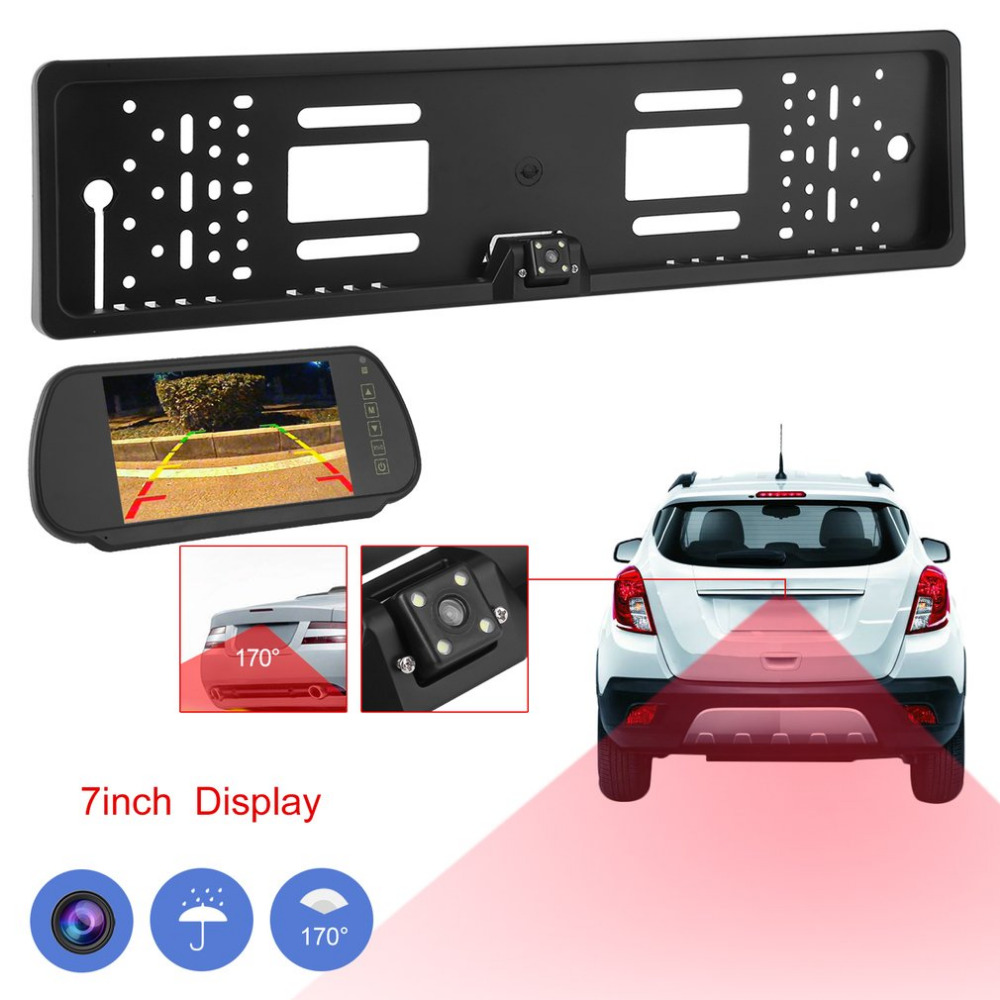 170 Degrees Viewing Angle European License Plate Frame Camera+ Wireless 7'' Display Night Vision Monitor Rear View Camera smaart v 7 new license