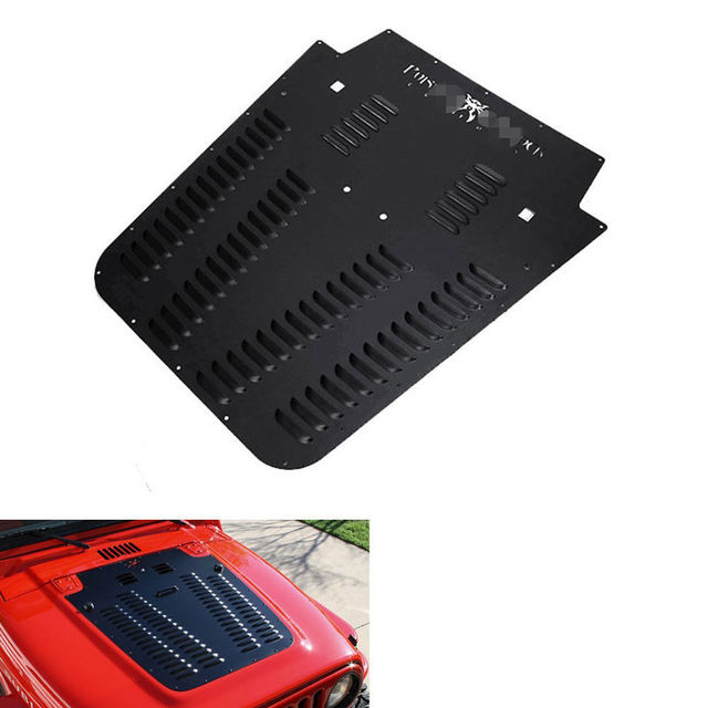 BBQ@FUKA 1X Metal Heat Reduction Primered Hood Vent Insert Cover Panel Black Fit For Jeep Wrangler JK 2007-2016