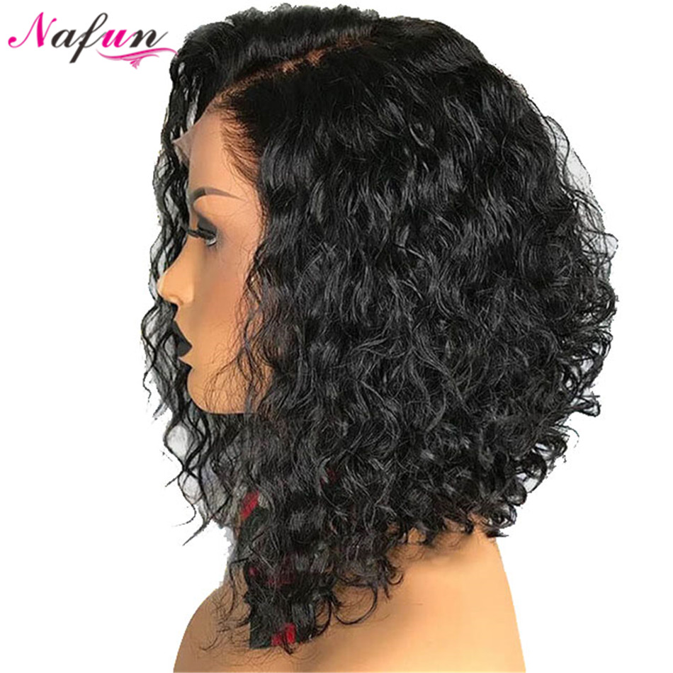 NAFUN Lace Front Human Hair Short Bob Wigs Brazilian Remy Kinky Curly Hair Lace Front Closure