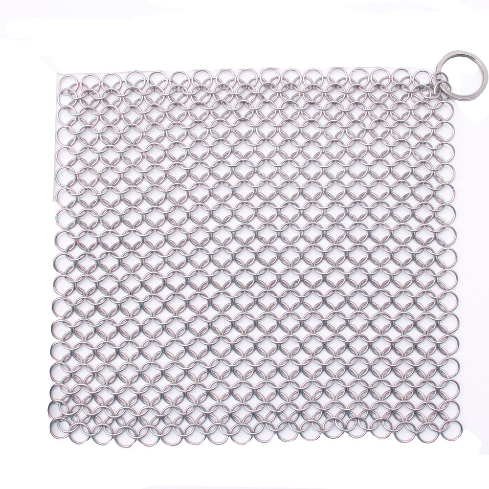 2 Sizes Finger Iron Cleaner Stainless Steel Square Scrubber Ringer Cast Iron Chainmail scourer Kitchen cleaning tool & ST87