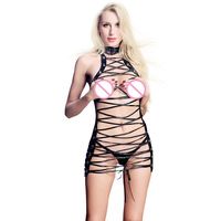 Porno Hot Sexy Erotic Lingerie Women Party Dress Leather Latex Lace Up Lingerie Sexy Hot Erotic Club Bandage Net Wet Look Dresse