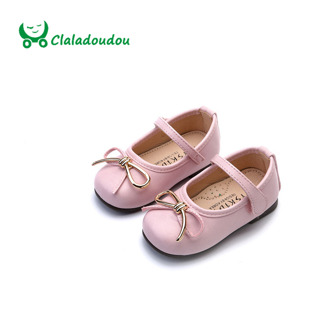 Claladoudou Spring Autunm Shoes For Baby Girl Cute Bowtie Toddler Girl Shoes Size 6 Pink Princess Flat Party Infant Dress Shoes