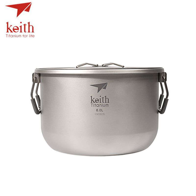 Keith Titanium 4-5 Person Large Camping Pot Folding Portable Outdoor Ultralight Hanging Pot Picnic Hiking Cookware 6L Ti8301 keith double wall titanium beer mugs insulation drinkware outdoor camping coffee cups ultralight travel mug 320ml 98g ti9221