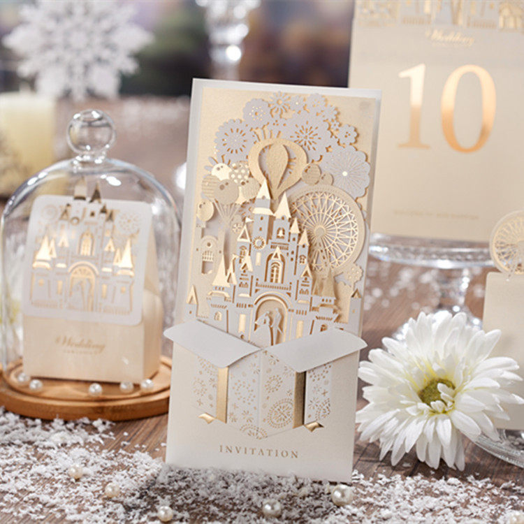 Wishmade Champagne Gold 3D Wedding Invitations Laser Cut Invitation Cards Bride and Groom Castle For Wedding