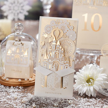 Wishmade Champagne Gold 3D Wedding Invitations Laser Cut Invitation Cards Bride and Groom Castle For Wedding event,Customizable