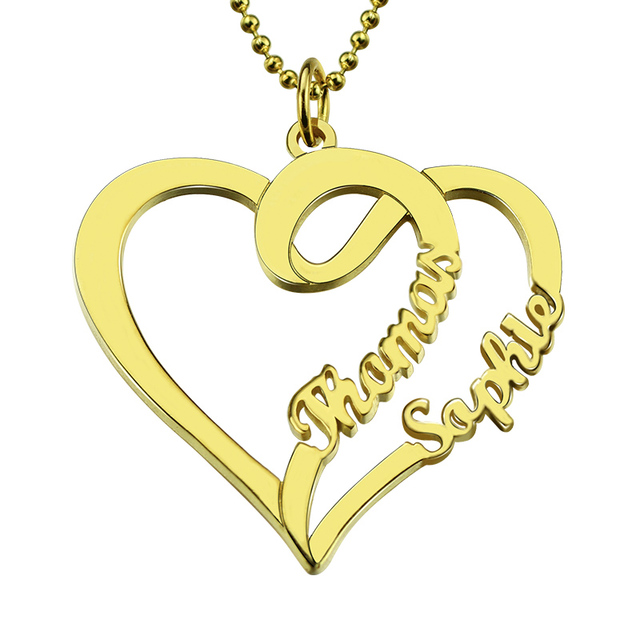 Wholesale personalized love necklace with two hearts and names gold wholesale personalized love necklace with two hearts and names gold color custom name necklace mothers necklace aloadofball Image collections