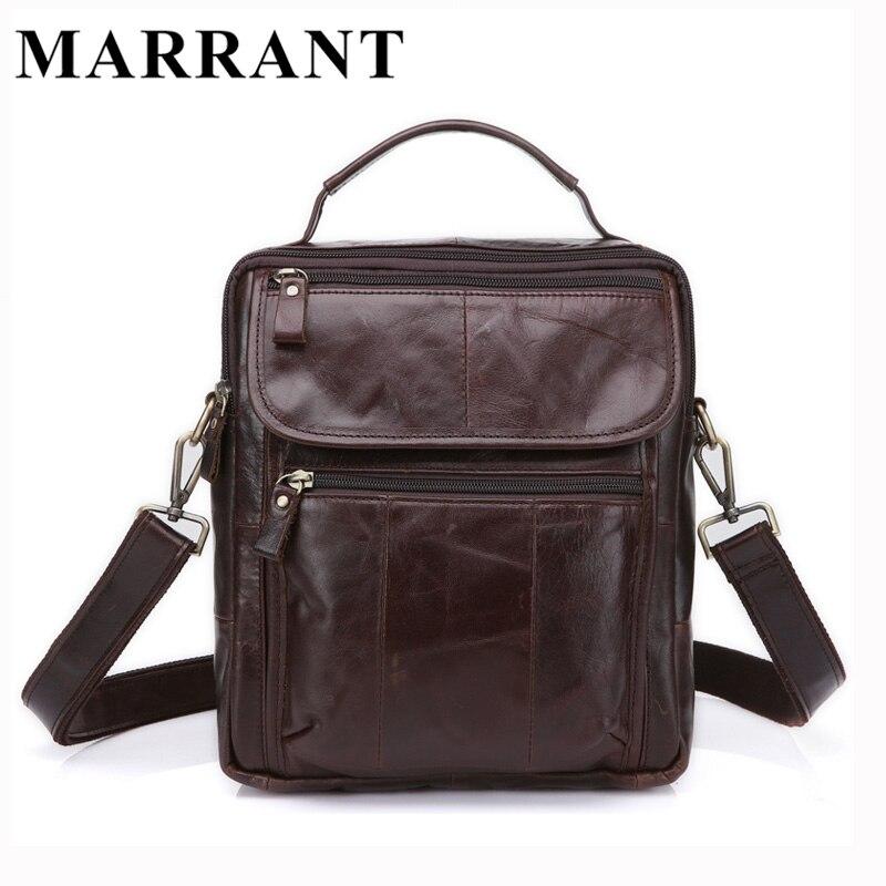 ФОТО MARRANT Genuine Leather Bag Men Crossbody Bags Fashion Men's Messenger Leather New Shoulder Handbags Male Travel Flap Bag 8870