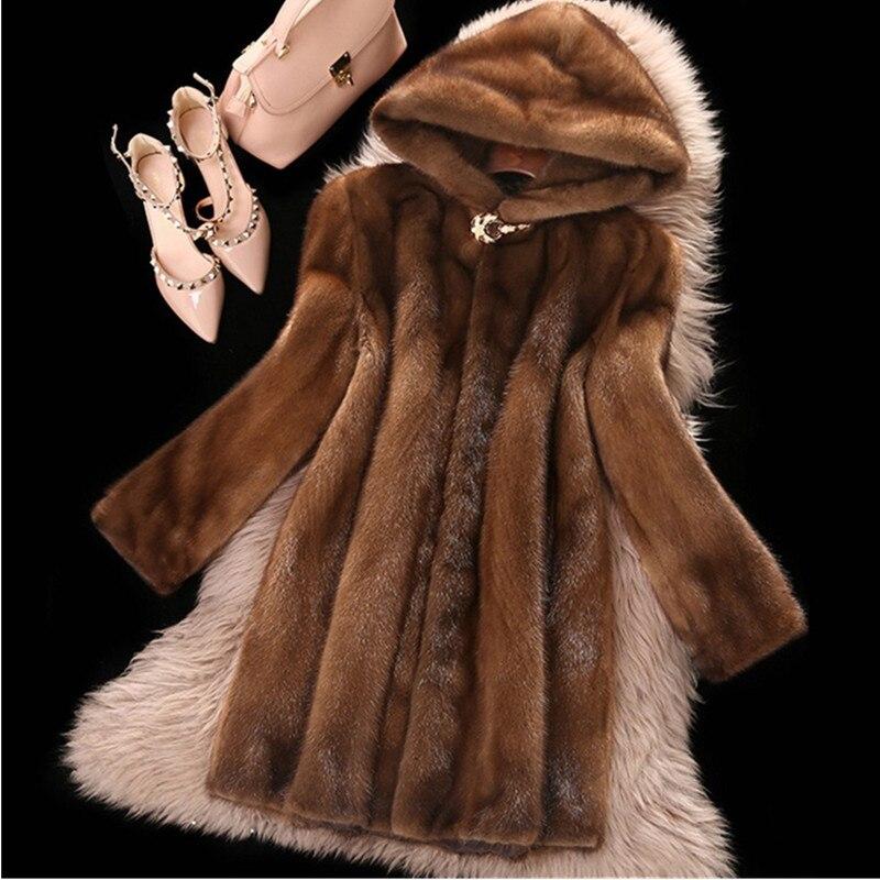 Taille Dark Capuche Moyen Plus Brown 6xl Haut Imitation Automne Modèles Lâche Long Gamme Manteau Hiver Femmes Féminins A532 Élégant Fourrure De La Vison gmb7YfvI6y
