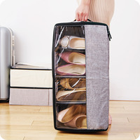 Folding Washable Oxford Shoes Storage Box With Zipper PVC Cover Organizer Boxes For Boots Underwear Socks