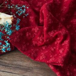 Haftowana bawełna tkanina wiosenna i jesienna tkanina bawełniana miękka i wygodna tkanina czerwona Retro literackie i artystyczne sukienki tissu