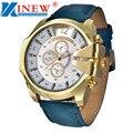 Hot hombres dial de cuero sintético reloj de pulsera deportivo de cuarzo caja de acero analógico regalo relojes masculinos reloj de los hombres reloj de la marca xinew
