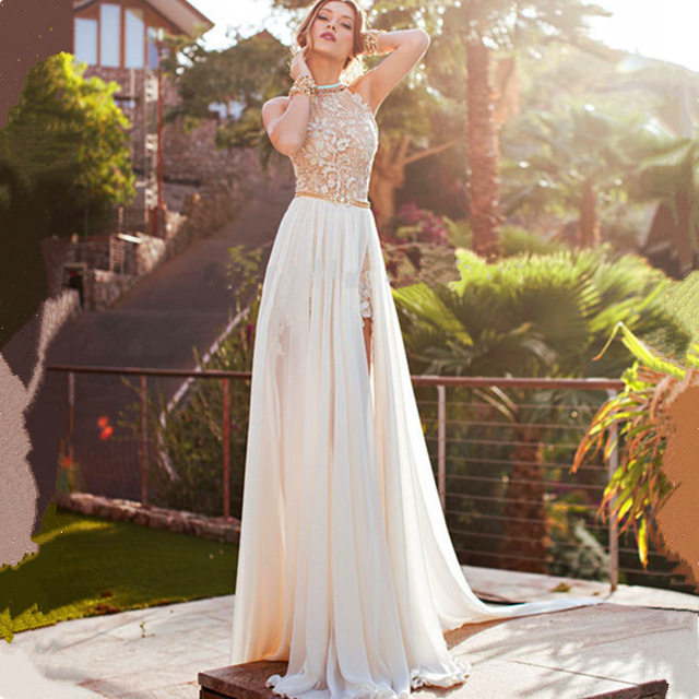 Us 131 4 10 Off 2019 Sexy Slit Backless Halter Neck Lace Beach Wedding Dress Plus Size Sleeveless Beaded Chiffon Bridal Gown Vestidos De Novia In