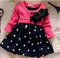 2017 New Fashion Autumn&Winter Baby girl dresses Kids Children Clothes Splicing Dots Dress For Infant girls dress 0 1 2 years