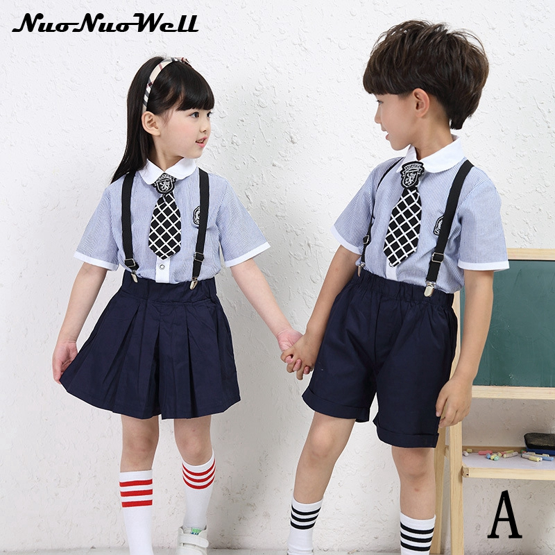 Summer Clothes 2017 Baby Boys Girls Cotton Short Sleeved School Uniforms Suit Students Kindergarten Kids Clothes Children Sets